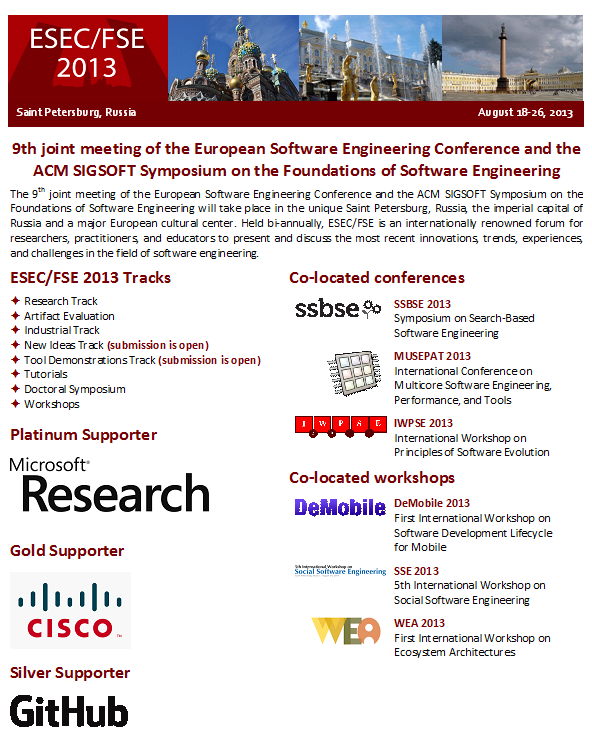 ESEC/FSE 2013 flyer